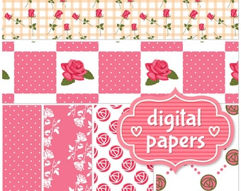 Pink Roses printable digital paper backgrounds and patterns for personal and commercial use - High Resolution 300 DPI