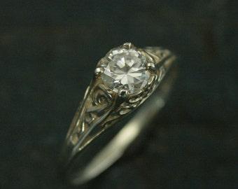 the cinderella ring silver vintage style filigree engagement ring white topaz - Cinderella Wedding Ring