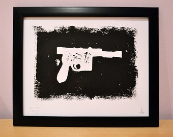 Star Wars: Han Solo Blaster - Framed  Lino Print - Limited Edition