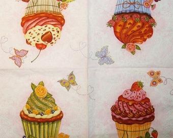 Cupcake Decoupage Napkin Eat Decoupage Paper Decoupage supplies Decoupage paper napkins Decoupage Print