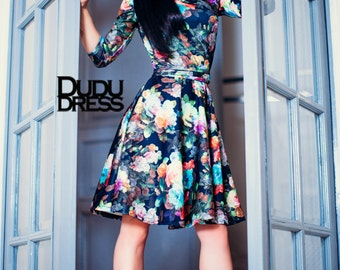 Short floral dress, floral dress, short dresses, ready to ship, beautiful dress, dark flowers, flowers, pretty dress, handmade dresses