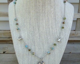 Initial charm necklace with birds