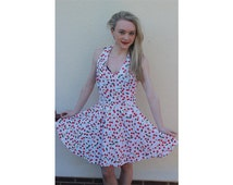 Rockabilly pinup vintage 50s dress, party dress, halter neck with full skirt. Size 10,12,14