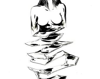"Original drawing ""Stripping"" (series ""Novencre"")"