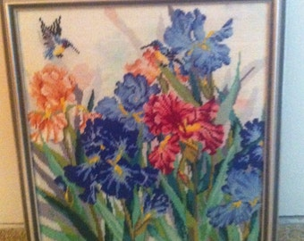 FRAMED IRIS and More Flowers NEEDLEPOINT    *****Reduced****