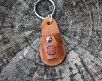 Leather Sandal Keychain With Flower, Handmade Leather Keychain, Western, Boho, Gypsy Keychain