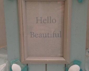 Seaglass and Shells Beach Frame - Handmade