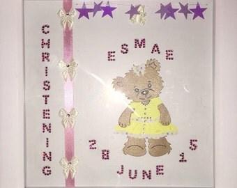 Handmade christening boxed frame