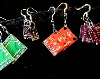 Earrings recycled computer parts