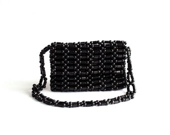 wood beaded purse . black beaded purse . long shoulder strap purse . small wooden purse . zipper & flap closure purse