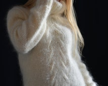 hand knitted mohair sweater fuzzy mohair pullover T-neck sweater unisex sweater cream mohair jumper soft mohair sweater made 2 order Dukyana