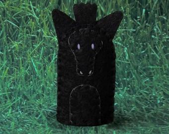 Horse Finger Puppet - Black Beauty Felt Finger Puppet Horse - Farm Finger Puppet - Black Horse Puppet - Felt Puppet Farm Animal