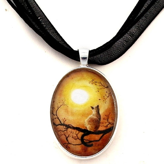 Siamese Cat in Timeless Autumn Zen Tree Art Oval Pendant Handmade Jewelry Necklace