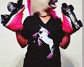Roller Skating Unicorn Shirt: V-Neck, Funny Unicorn Shirt, Roller Derby TShirt, American Apparel