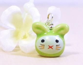 Green Kawaii Bunny Necklace Sherbet - Bunny Rabbit - Rabbit Necklace - Bunny Pendant