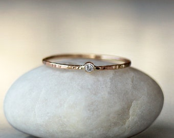 Tiny Diamond Ring, 14k Gold Slim Stacking Ring, Hammered Gold Band, Canadian Diamond Ring, Ethical Eco Friendly Recycled Gold, Diamond Band