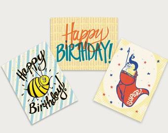 Happy Birthday Greeting card set fun bee super bean funny cute bright cards