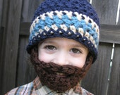 Instant Download- Pattern for Crochet Bearded Beanie size 6-10 years old
