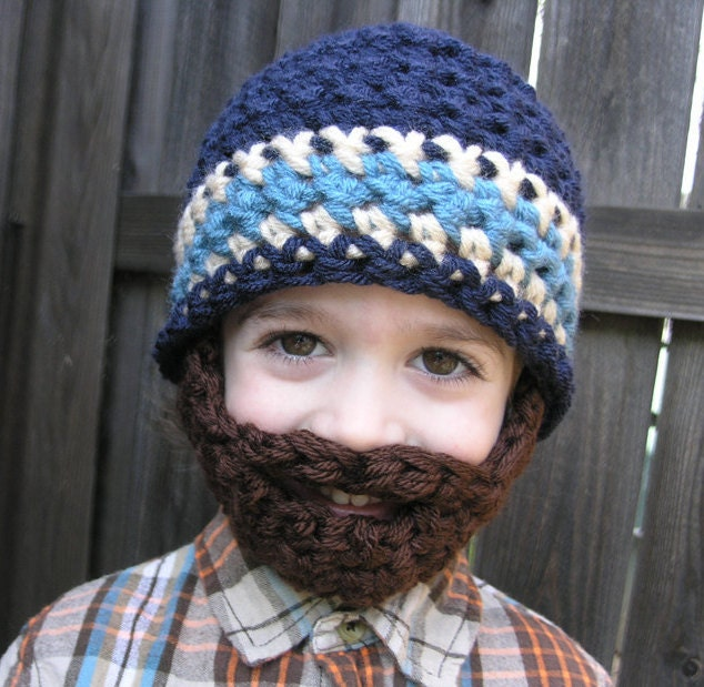 Crochet Hat Pattern For 6 Year Old : Instant Download Pattern for Crochet Bearded Beanie size 6-10