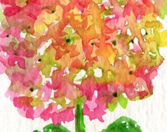 ACEO Pink and Green Hydrangea Original Watercolor Painting  Art Card