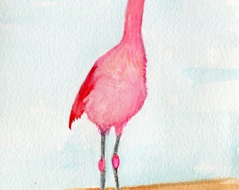 Flamingo painting, Flamingo Watercolor Painting Original, 5 x 7 bird art, original watercolor of pink flamingo, small watercolor painting