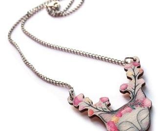 Cat Deer necklace wood - illustration -  cats pendant laser cut wood flowers cute jewelry jewellery