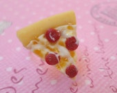 Kawaii Pepperoni Pizza Ring, Polymer Clay Food Jewelry