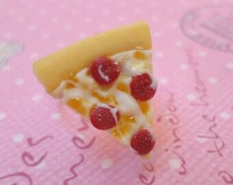 Kawaii Pepperoni Pizza Ring, Polymer Clay Food Jewelry
