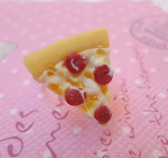 kawaii pepperoni pizza ring polymer clay food jewelry by