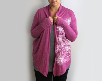 Small- Orchid Cardigan with Chrysanthemums Screen Print
