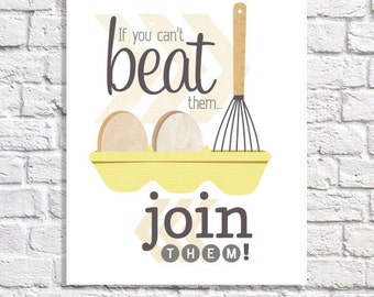 Funny Kitchen Art Humorous Print Breakfast Nook Wall Art Eggs Artwork Whisk Art Kitchen Picture Yellow