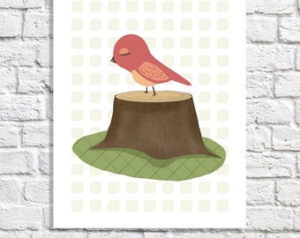 Nursery Bird Art For Girls Room Woodland Baby Decoration Coral Bird Wall Art Whimsical Print Pictures Of Birds Cute Baby Room Ideas 8.5 X 11
