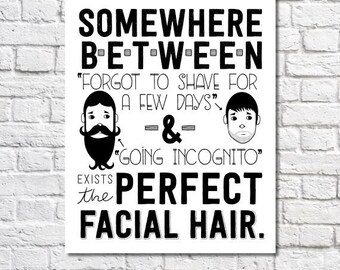 Beard Art Men's Grooming Funny Bathroom Decor Facial Hair Growth Print Mustache Wall Art Beard Love Black And White Poster Gag Gift For Men