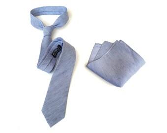 """Light blue linen necktie. """"St. Clair."""" Silk & linen blend men's tie. Bias cut, rustic nautical blue series. Pocket squares available too!"""