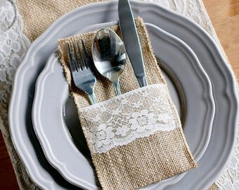 Rustic Wedding Burlap Cutlery Holder for Reception Tables for Events Shabby Chic Wedding