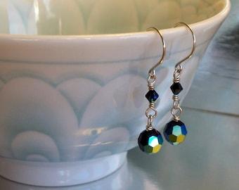 Oil Slick - Sterling Silver And Swarovski Crystal Earrings