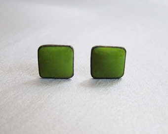 Lime Green Enamel Mini Square Stud Post Earrings, Kiln-fired Glass Enamel and Sterling Silver, 7mm Square Post Stud Earrings