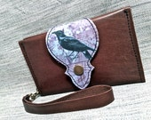 Leather Wallet, Phone Case with Wrist Strap & Zipper Pocket, Brown / Raven Photo Pattern Print, * SALE * Coupon Codes