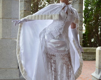 Victorian Bridal Cloak Capelet - White and Natural - Ready to Ship
