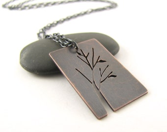 Madrona Tree Art hand pierced oxidized copper pendant - made to order