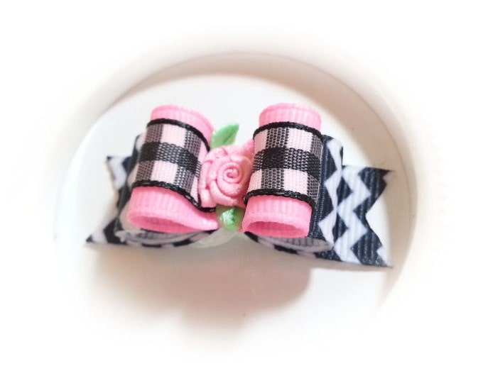 Dog Bow Black Chevron with Pink Flower