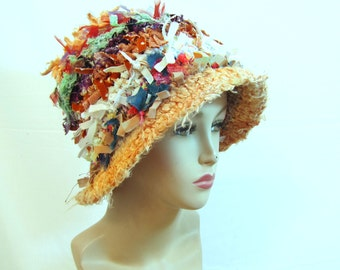 Unique crocheted hat fun hat funky hat cool crazy hat hippie hat rag hat shabby chic hat bucket hat upcycled hat