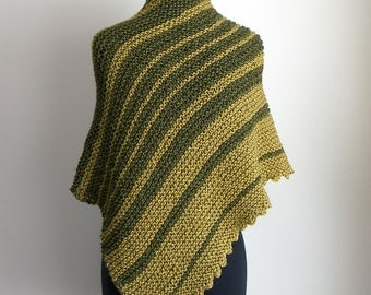 Hand Knit Asymmetrical Shoulder Shawl Scarf Cowl Wrap, Stylish Comfort Prayer Meditation, Olive Green Lemon Yellow, Ready to Ship SHIPS FREE
