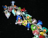 VALENTINE  charm bracelet, vintage glass hearts flowers sterling silver  etsyBead OlympiaEtsy WWWG FunkyAlternativeJewelry SupportingArtists