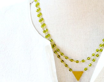 Moss Green Modern Bead Strand Necklace