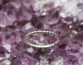 sterling silver stacking ring, beaded stacking ring, single silver ring