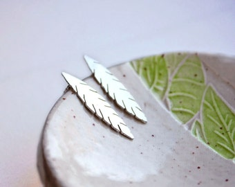Silver earrings, feather earrings sterling silver earrings, long silver jewelry, nature jewelry earth day recycled silver