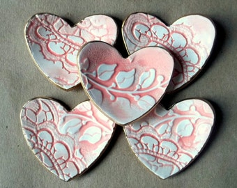 FIVE  Coral and White Ceramic Heart ring dish itty bittys bridal Shower Baby shower favors