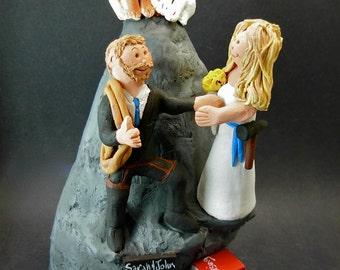 Mountain Climbers Wedding Cake Topper, Mountaineers Wedding Cake Topper, Hiker's Marriage CakeTopper, Wedding Cake Topper for Hiking Bride