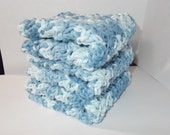 Set of 3 Crochet Dishcloths/Washcloths/Face cloths-Shaded Denim
